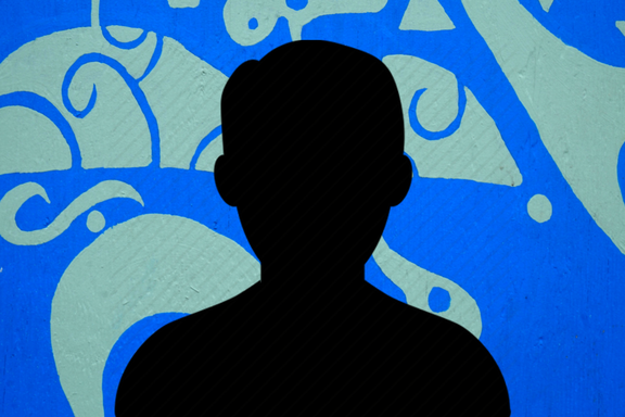 silhouette on blue background