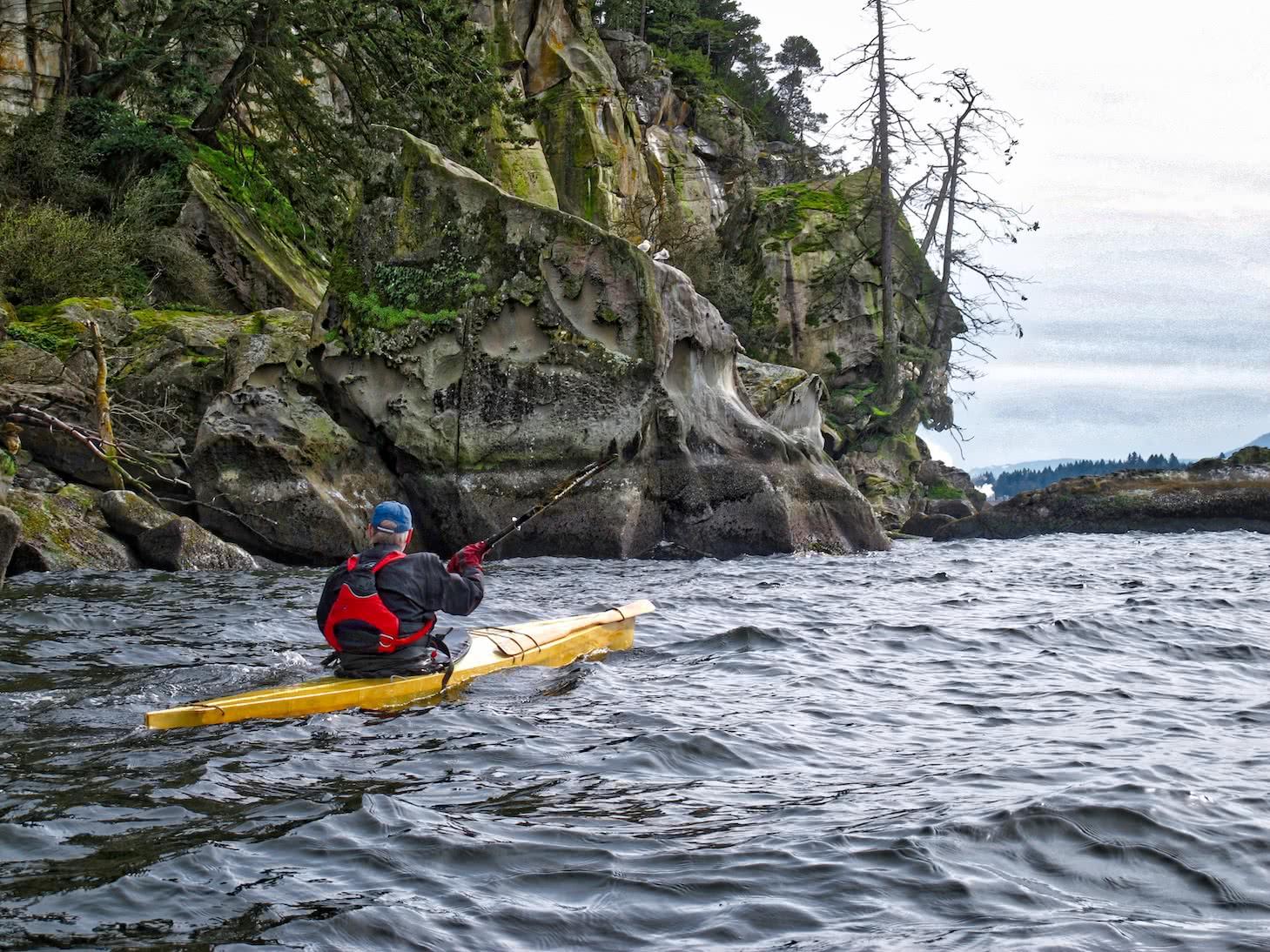 Brian off Gabriola Island in traditional kayak