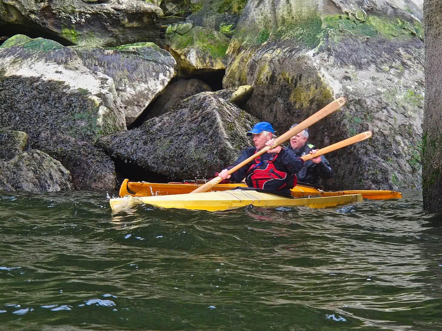 Brian & Ron Crown in tradional kayaks