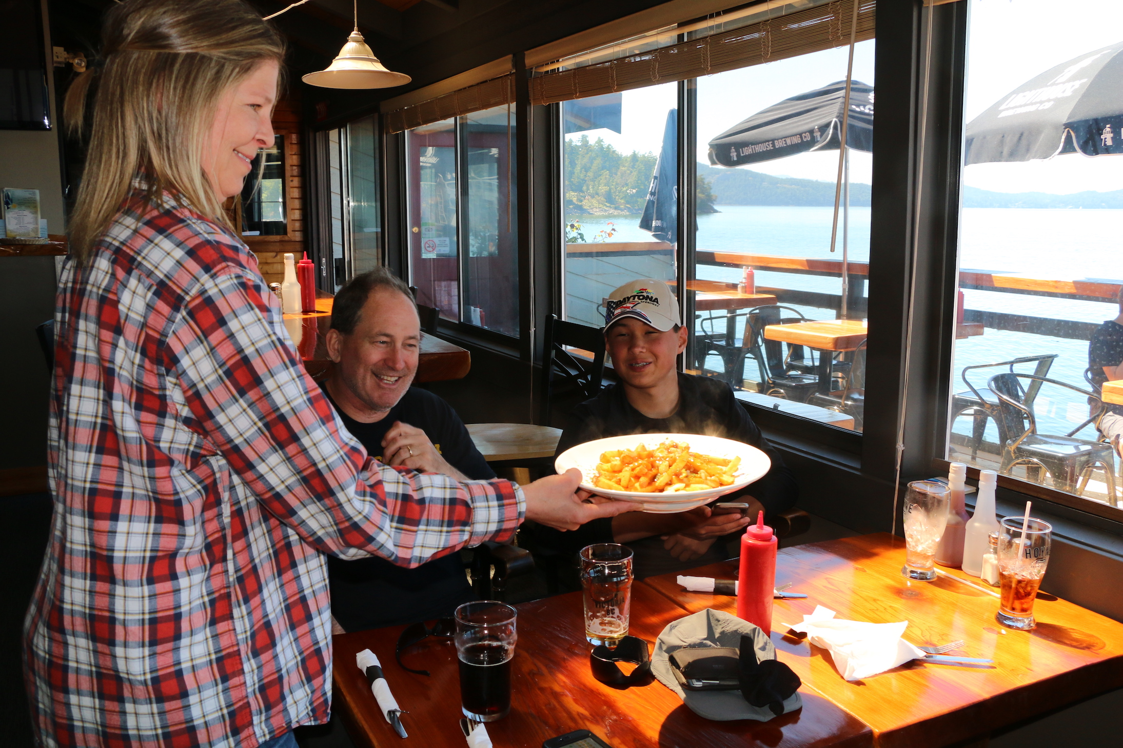 The boys reward at Saturna Lighthouse Pub!