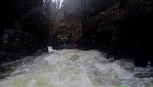 whitewater kayaking downstream view