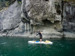 SUP touring by the sandstone cliffs of Saturna Island
