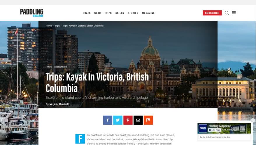 screenshot of the Paddling Magazine Kayaking in Victoria webpage